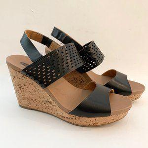 "Dr. Scholls 9M 4"" Cork Wedge Black Sandal Shoes"